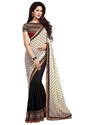 Ruddhi Women's Silk & Georgette Saree (Black and White)