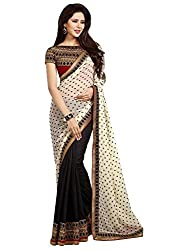 Ruddhi Women's Silk & Georgette Saree (Black and White)