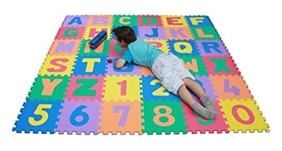 TLCmat® Soft Alphabet & Number Puzzle Play Mat Jigsaw 36pcs (A-Z & 0-9) with Storage Bag