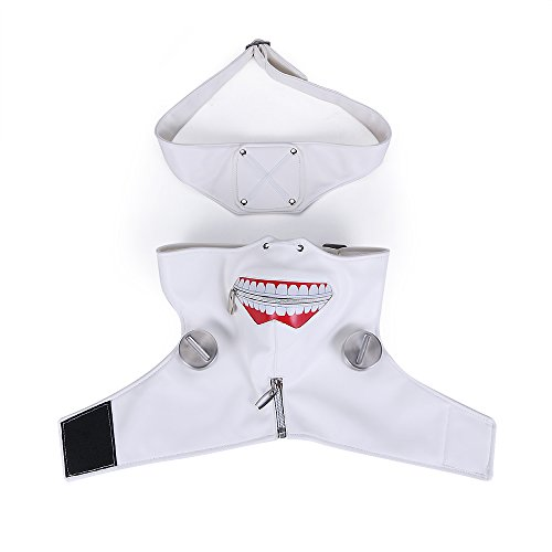Another Me Anime Tokyo Ghoul Ken Kaneki White Zipper Mask Wig Cosplay Prop High Quality