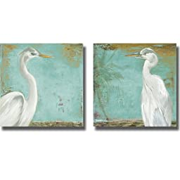 Tropic Heron I & II by Patricia Pinto 2-pc Premium Stretched Canvas Set (Ready to Hang)