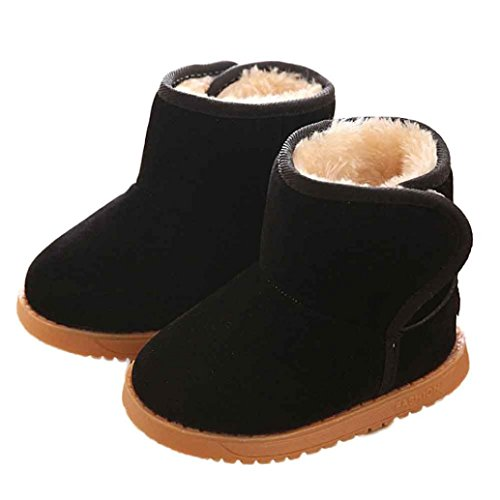 Amiley Toddler Little Boy Girl Kids Cotton Warm Snow Boots Winter Ankle Boots (US:7-7.5 (Tag 23 ), Black)