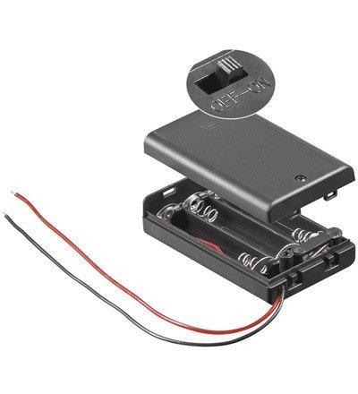 Wentronic Porte-piles pour 3 piles AAA Interrupteur M/A 10 pièces