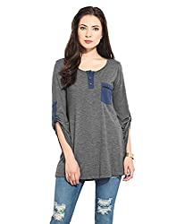 Grey Top With Contrast Detailing Medium