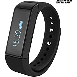 Fitness Tracker Watch from SHINAP® - Best Wearable Smart Band for Activity Tracking with Pedometer, Calorie Counter and Alarm,Touch Screen plus Sleeping Monitor-Improve Your Fitness Now (Black)