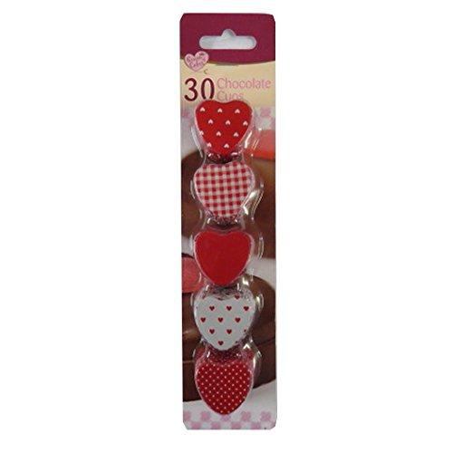 Lot-de-30-en-forme-de-cur-chocolat-gteau-truffe-cas-petit-quatre-cas-rouge-blanc