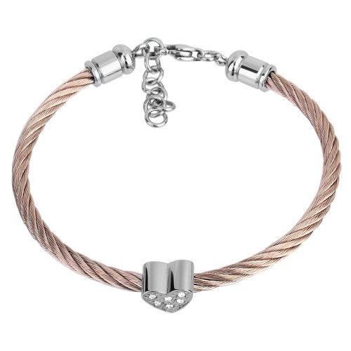 Franki Baker Copper coloured stainless steel bracelet with pretty crystal encrusted heart. Adjustable fit with extention chain. Comes in pretty box.
