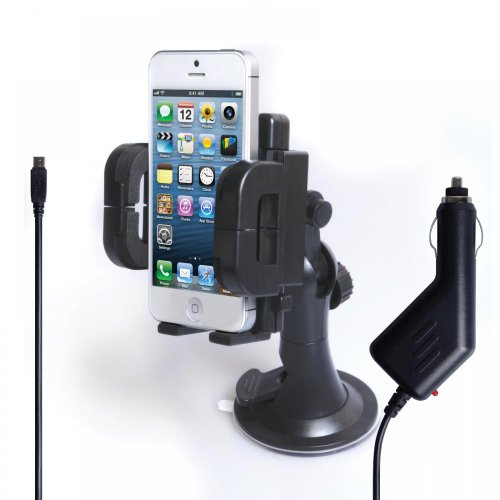 Yousave Accessories Htc Sensation Plastic Car Holder With Car Charger - Black