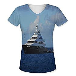 Snoogg White Boat In Blue Water Womens Casual V-Neck All Over Printed T Shirts Tees