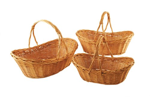 Wald Imports Large Willow Baskets with Split Handles, Set of 3 (Large Willow Basket With Handle compare prices)