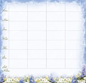 Legacy Magnetic Weekly Reminder Pad, Wildflowers in Blue and White (WKR9207)