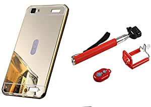 Novo Style Back Cover Case with Bumper Frame Case for Vivo Y37 Golden + Selfie Stick with Adjustable Phone Holder and Bluetooth Wireless Remote Shutter