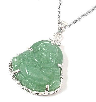 Rhodium Plated 925 Sterling Silver Green Jade Buddha Pendant Necklace 18