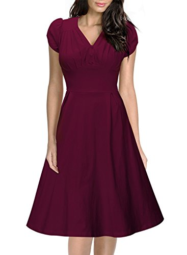 Miusol Women's Vintage Breast Dart V-Ncek A-line Skirts Big Swing Tea Dress (L-14, Purple)
