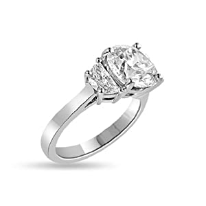3.78 Ct Tw 3 Stone Diamond Engagement Ring Platinum - GIA