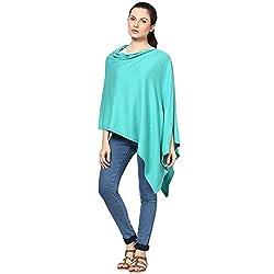 Pluchi Fashion Knitted Cotton Poncho Viktoria-Aqua Blue
