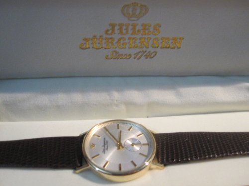 Jules Jurgensen gold case Genuin Brown lizard strap Gents Watch