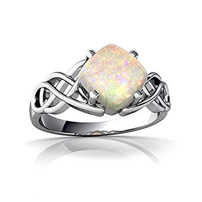 14kt Gold Opal Cushion Celtic Knot Ring