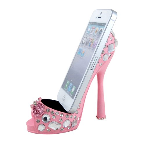 Gem Embellished Shoe Cell Phone Holder Pink