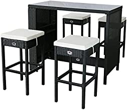 Gartenfreude Polyrattan Sitztheke mit 4 Hockern, Glasplatte 133 x 68 x 111cm, Hocker 42 x 42 x 75 cm, schwarz