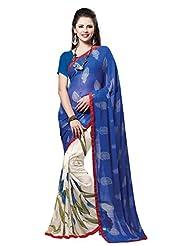 Indian Designer Sari Beautiful Floral Printed Faux Georgette Saree By Triveni - B00NGF8AZS