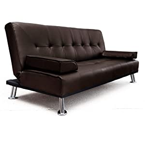 Large Italian Faux Leather 3 Seater Sofa Bed Futon (12002-D02 Brown) by Veelar