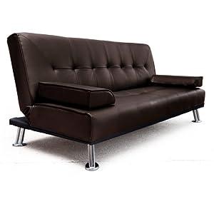 Italian Faux Leather 3 Seater Sofa Bed Futon D02 Brown Amazon Kitchen & Home