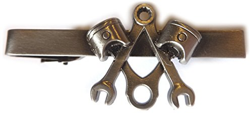 Piston Wrench Harley Antique Nickel Motorcycle Mechanic Square Compass Masonic Tie Bar Clip