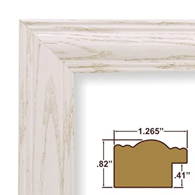 18x24 Picture Frame / Poster Frame 1.265 Wide Complete Whitewash Wood Frame (440WW)