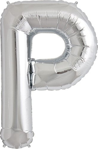 Letter P - Silver Helium Foil Balloon - 34 inch