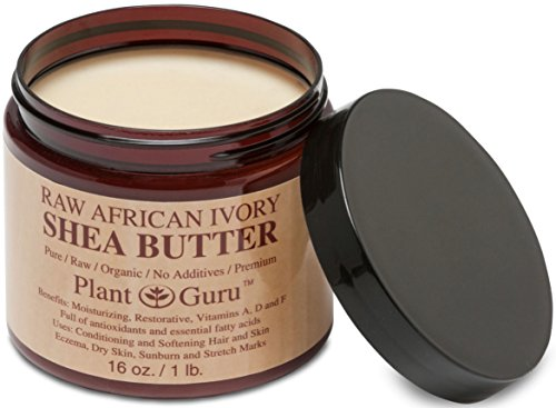 Shea Butter - Plant Guru Premium Raw Unrefined Organic Ivory African Shea Butter - Grade A - Natural Skin Care, Hair Care And Body Butters - Rich In Vitamins A & E - Use On Acne, Eczema, Stretch Marks, Rashes - Essential Ingredient For Diy Body Butters, L