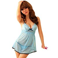 Amour-Sexy Lingerie Opaque Blue Openback Mini Dress Babydoll from Intimates21