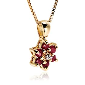 18k gold overlay ruby flower sterling silver pendant