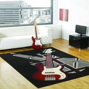 Boys Rock guitar rug, 120x160cm. Retro