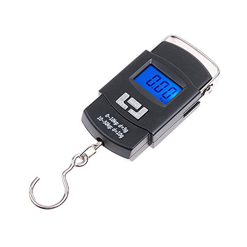 Geekercity Portable Electronic Digital Weight Scale Fishing Hook Suitcase Luggage Handheld Pocket Weighing Hanging Scales Balance Steelyard [ 50kg 10g ] (The Ten Pound Ticket compare prices)