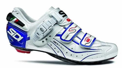 Sidi Men Road Bike Shoes Genius 6.6 Carbon Lite Standard White/Blue Vernice 42