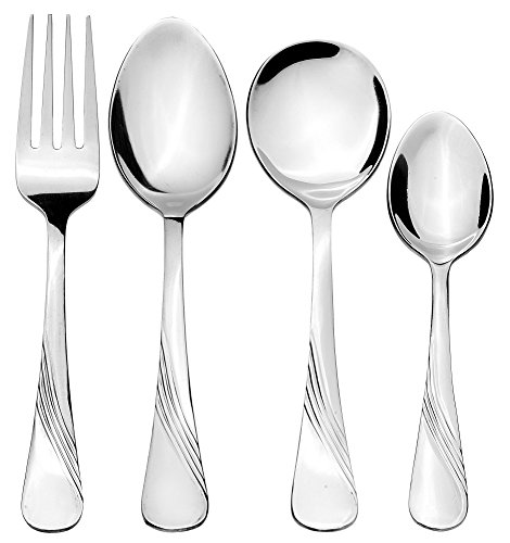 Solimo 24 Piece Stainless Steel Cutlery Set, Waves (Contains: 6 Table Spoons, 6 Tea Spoons, 6 Forks, 6 Soup Spoons)