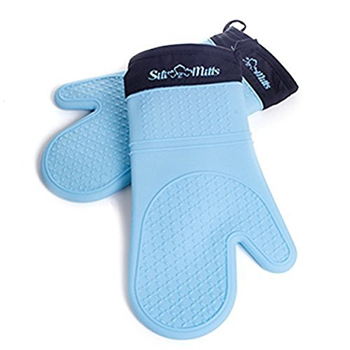 Silicone Oven Mitts - 1 Pair of Extra Long Professional Heat Resistant Potholder Gloves - Oven Mitt Set of 2 - Blue (Holiday Oven Parts compare prices)