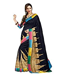 GoGalaxy Fashion Woman's unstiched party wear collection Black Bhagalpuri Silk Printed Free Size Full Saree at Low Price