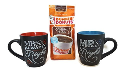 mr-mrs-right-decorative-chalk-talk-coffee-mugs-11oz-gift-set-bundle-with-dunkin-donuts-original-blen