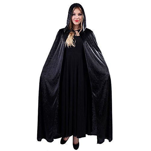Unisex Halloween Party Christmas Magic Hooded Velvet Cloak Wicca Robe Medieval Witchcraft Cape Halloween Costume