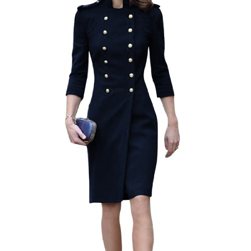 Allegra K Women Elegant Half Sleeve Button Tab Autumn Military Jacket Dark Blue XS