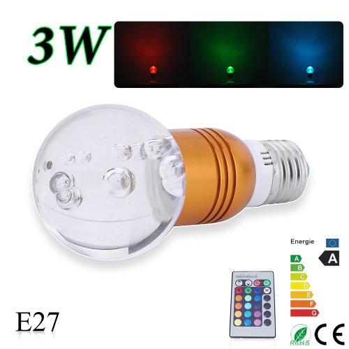 3W E27 RGB LED Farbwechsel Strahler LED Lampe Birne Licht Leuchte +lR Fernbedienung.