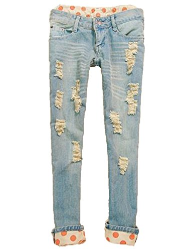 Women'S Classical Vintage Side Bow Cutout Ripped Denim Jeans Jeggings Trousers (M)