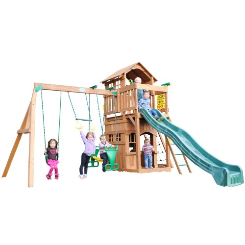 Funtime Madison Swing Set With 10 Ft Green Wave Slide front-175782