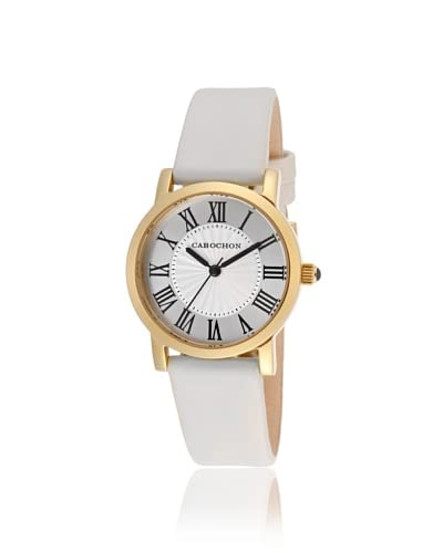Cabochon Women's 402S-016 Dame Chic White Leather Watch