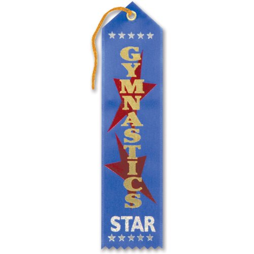 "Gymnastics Star Award Ribbon 2"" x 8"" Party Accessory"