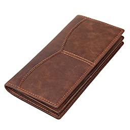 Texbo Men\'s Genuine Cow Leather Bifold Long Wallet Brown