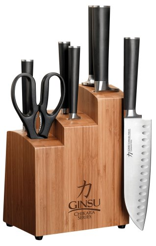 Ginsu 7108 Chikara 8-Piece Stainless-Steel Knife Set with Bamboo Block