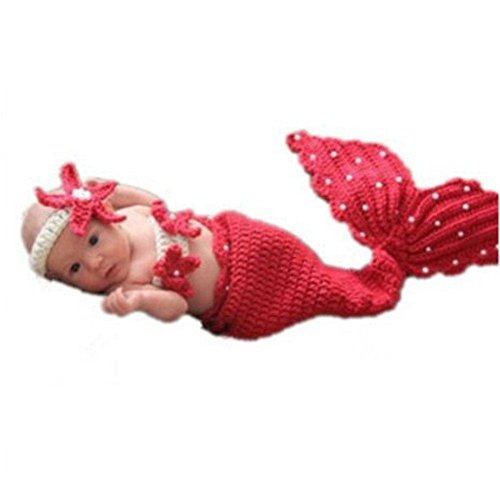 ToJoy Infant Costume Photography Toddler Mermaid Hat Set Handmade Knit Crochet